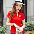 Plus Size Slim Polo Women 2016 Letter Red Shirts For Women Short Sleeve Turn-down Collar Embroidery camiseta polo feminina B006