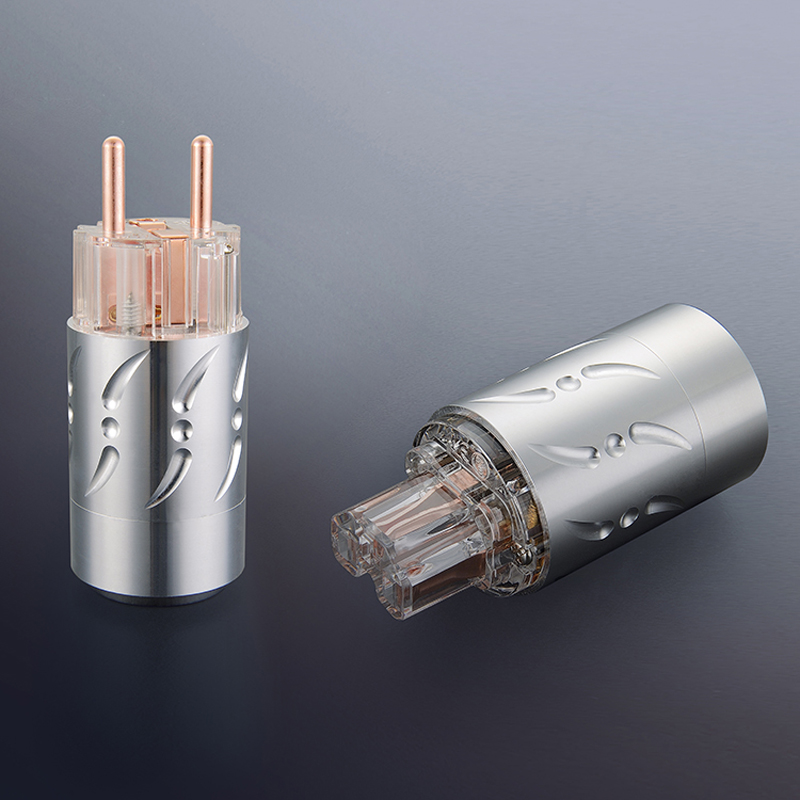 Free shipping One pair Viborg VE512&VF512 Pure Copper  HIFI EU Power Plug+IEC Female Connector купить