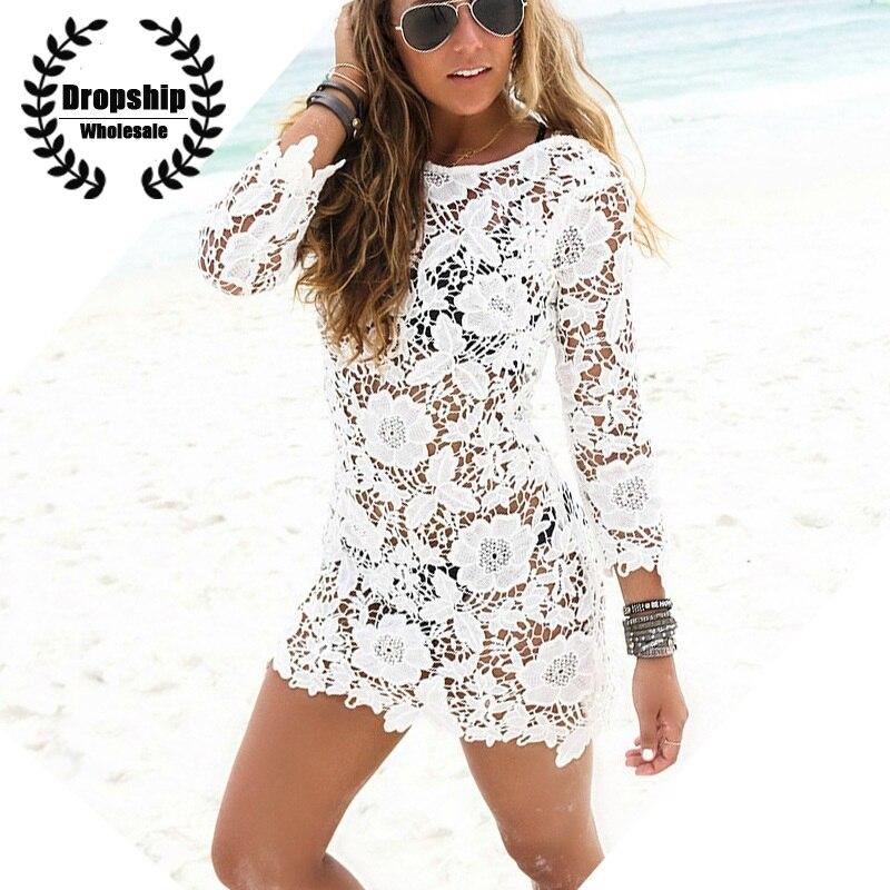 ed4d6a9b44955 Vestido de Roupa 2017 Praia Tampa up Floral Branco Sexy Túnica Mulheres Bikini  Cover-ups Feminino Maiô Beachwear Cover Solto de Banho