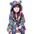 2 color Fashion Children Jacket Winter Warm Girls Cashmere Bear Windbreaker Camouflage Kids Outerwear Thick Cartoon Cute Coat