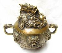 NICE CHINESE OLD Beautifully carved Chinese brass Dragon Incense Burner brass Statue NR016 Garden Decoration Brass brass