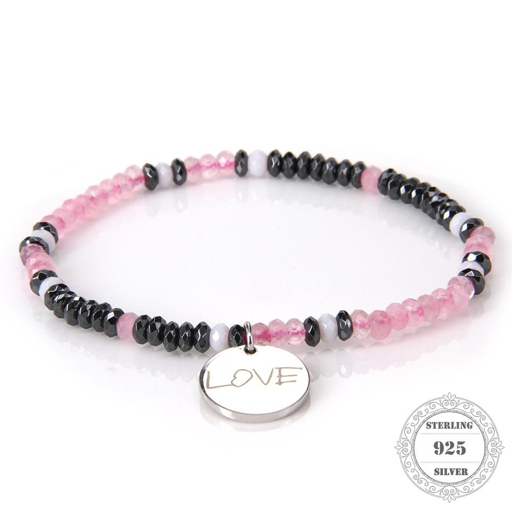 HEMISTON 925 pulsera de cuentas de cuarzo rosa rosa con plata de ley - Joyas