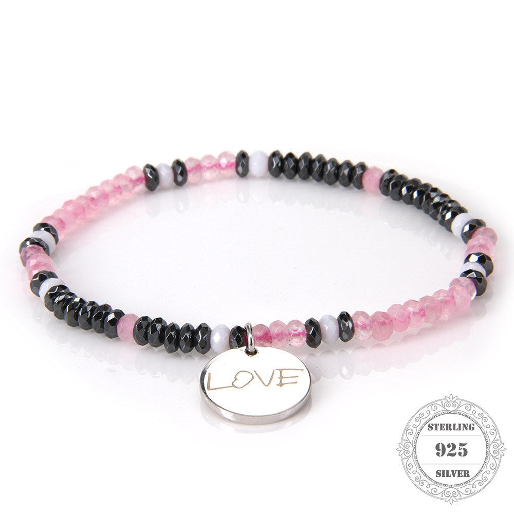 HEMISTON 925 Pink Rose Quartz Bead ձեռնաշղթա 925 ստերլինգ արծաթյա սիրո սկավառակով հմայքը կանանց համար Հարսանեկան զարդերի զարդեր TS-B089