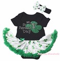 My 1ST 2ND Happy St Patrick Day Black Bodysuit Green Clover LOVE Girls Baby Dress Outfit NB-18M