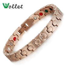 Wollet Jewelry Women Rose Gold Color Bracelet Bangle Health Care Bio Magnetic Germanium Stainless Steel Bracelet for Women