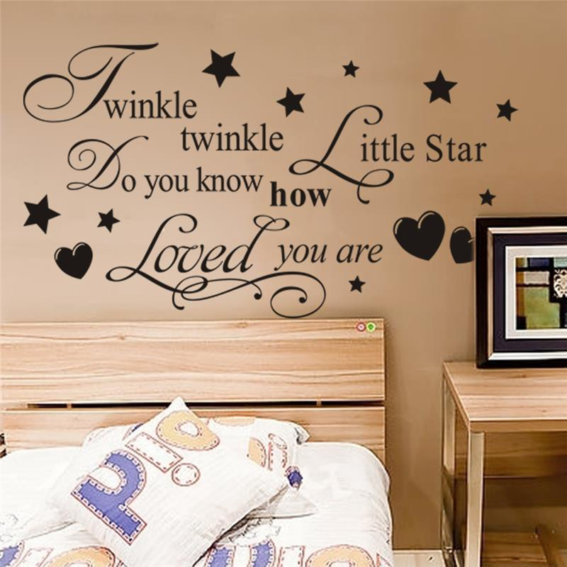 Twinkle twinkle little star wall stickers quotes children - Childrens bedroom wall stickers removable ...