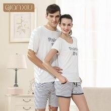 Qianxiu Пижамы Костюм Kintted Хлопок Пижамы Набор Для Женщин Модальные Полосы Женщины Pijamas