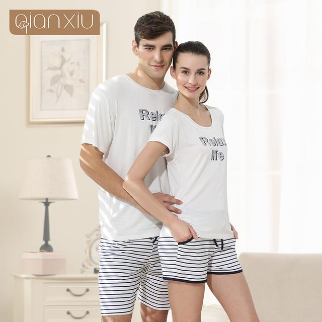 Qianxiu Sleepwear Terno de Malha de Algodão Conjunto de Pijama Para As Mulheres Listras Modal Mulheres Pijamas