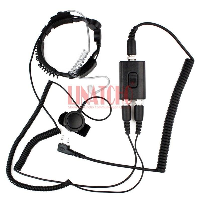 Micro de radio bidirectionnel de bonne performance casque de cou de PTT résistant micro de gorge tactique de radio de talkie-walkie