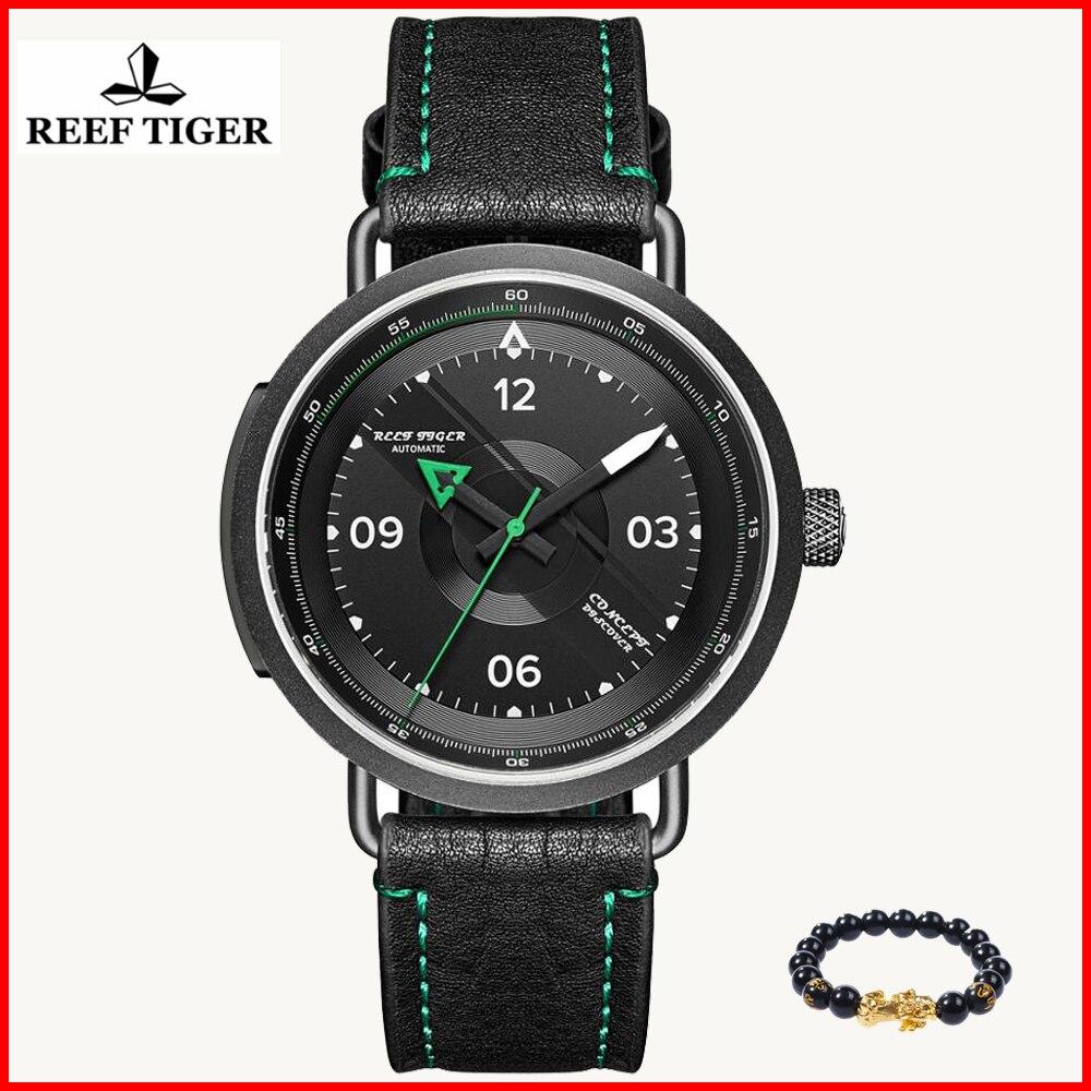 2019 리프 타이거 새로운 디자인 간단한 시계 남자 가죽 방수 군사 자동 기계 시계 relogio masculino rga9055-에서기계식 시계부터 시계 의  그룹 1