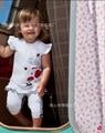 2 шт. новый летний ребенок девушка одежда с коротким рукавом костюмы девушки одежда устанавливает Детские наборы прекрасный мультфильм цветок печатных
