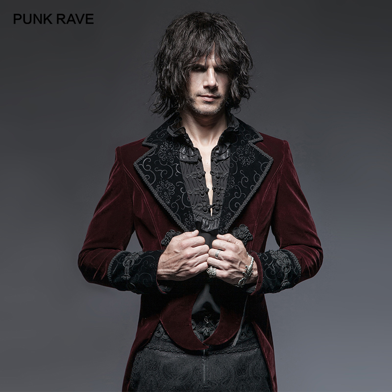 PUNK RAVE Gothic Vampire Red Men's Gentle Tail Jacket with Scissors Punk Rock Party Cospaly Men Long Coat Clothes Windbreaker