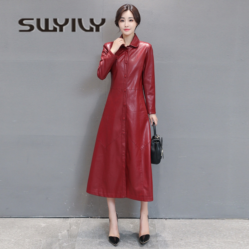 SWYIVY 5XL Plus Big Size Woman Jacket Coat Ankle Long 2018 Autumn Winter Cotton Ladies Outwear Coat Woman PU   Leather   Jacket Red