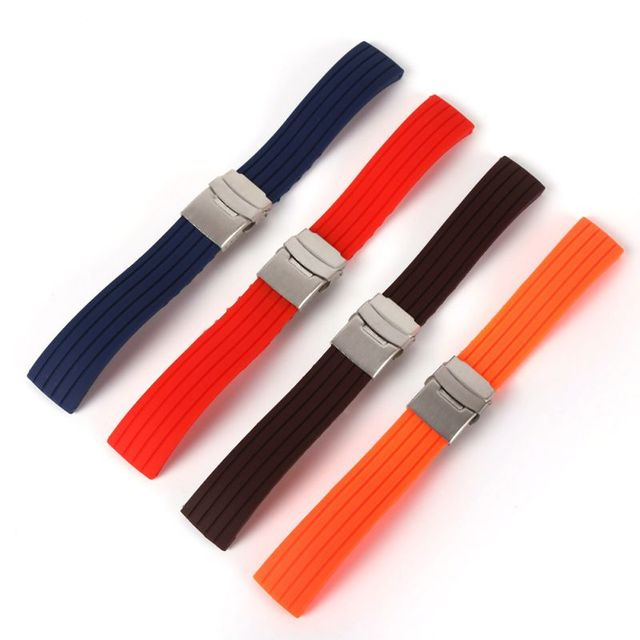 Silicone Rubber 16,18, 20, 22, 24mm Watch Strap Band Deployment Buckle Waterproof Watchband with Stainless Steel Buckle 4 Color