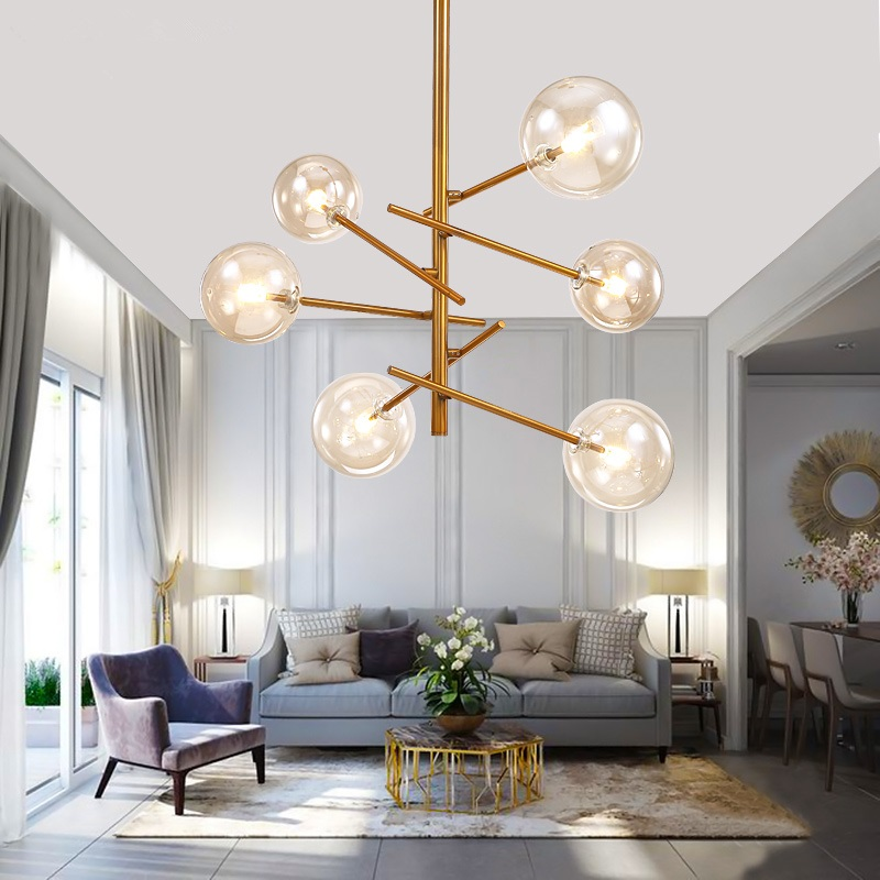 Sincere Led Chandelier Loft Deco Fixtures Glass Suspension Luminaires Nordic Hanging Lights Bedroom Lighting Living Room Suspended Lamps Waterproof Chandeliers Shock-Resistant And Antimagnetic Lights & Lighting
