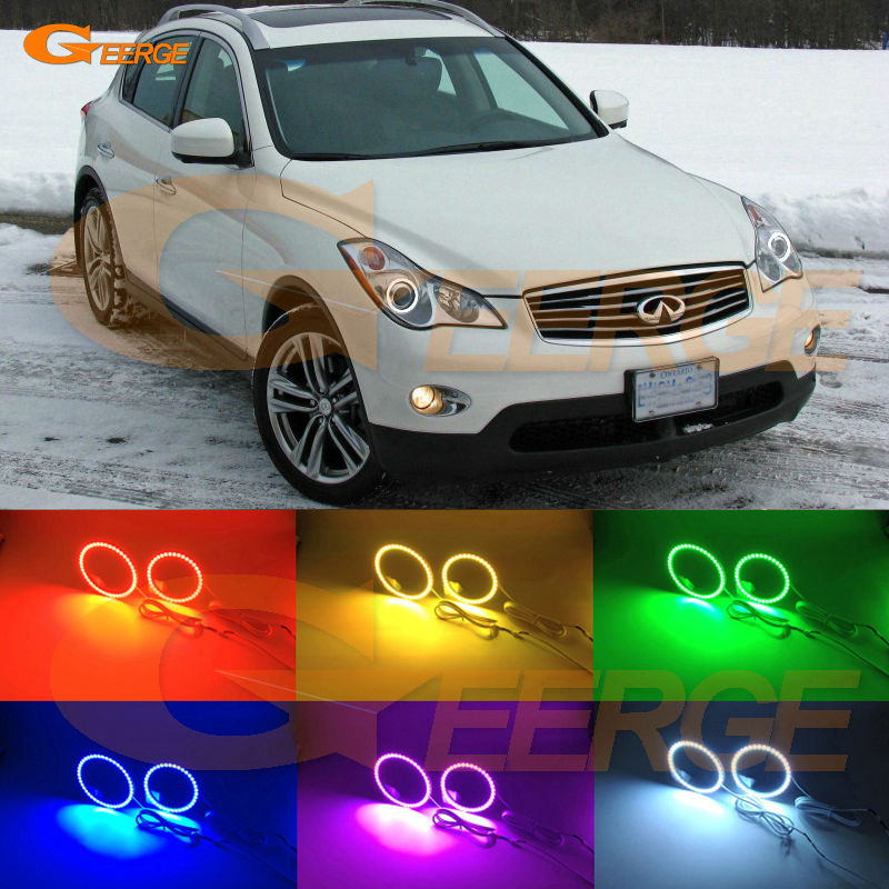 For INFINITI EX35 EX37 2008 2009 2010 2011 2012 Excellent Angel Eyes Multi-Color Ultra bright 7 Colors RGB LED Angel Eyes kit for honda cr v crv 2010 2011 projector headlights excellent multi color ultra bright rgb led angel eyes kit halo rings
