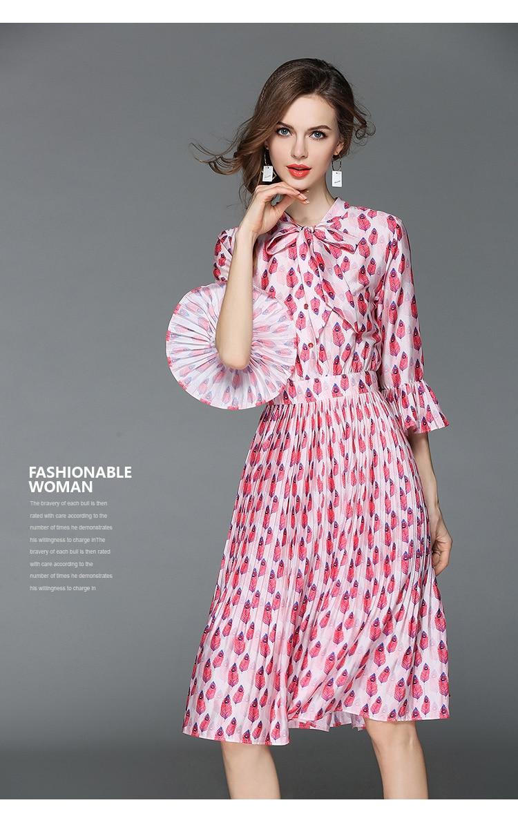 Woman Horn Sleeve Printed Pink Summer Dress Womens Dresses New Arrival 2018 Midi Beach Party Dress Dames Kleding K6012 1