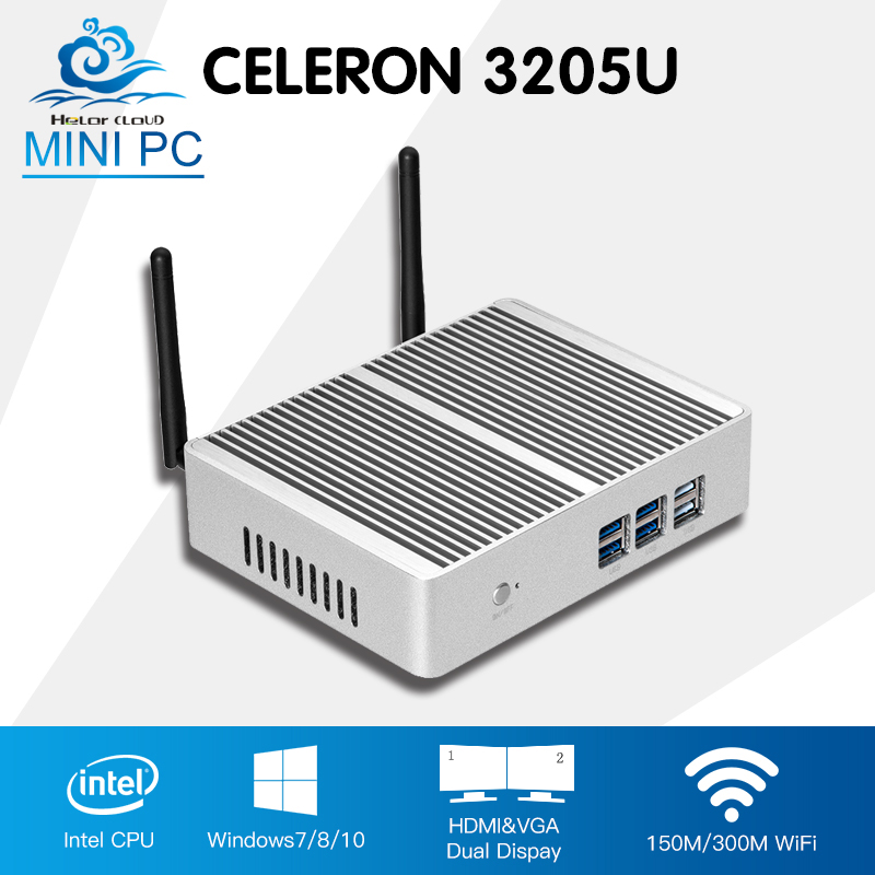 Mini Computer Desktop Intel Celeron 3205U Mini PC Dual Core Windows 10 Office Computer Fanless HDMI HTPC TV Box цены