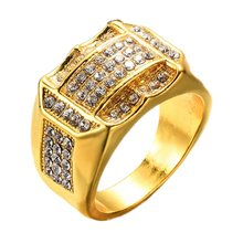 Luxury Pave Rhinestone Iced Out Bling Bling Square Ring Gold Filled  Titanium Rings For Men Jewelry Gold Silver 8383a7734d7d