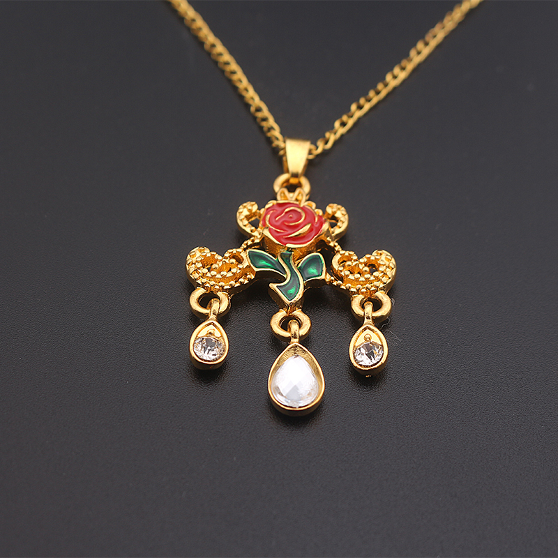 Delicate Beauty and the Beast Necklace Enameled Rose Flower Gold ...