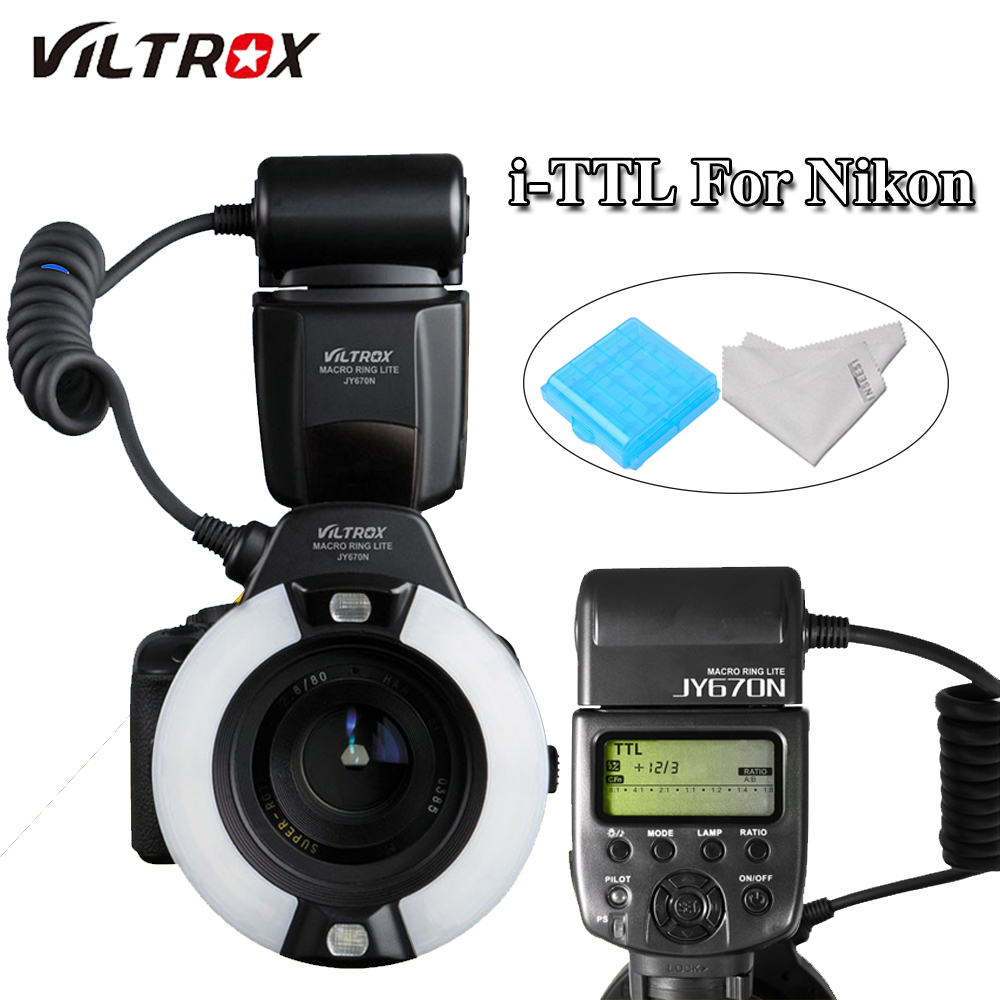 Viltrox JY-670N DSLR Camera Close-Up LED TTL Macro Ring Light Flash Speedlite FlashLight for Nikon 7500D 5600D 5500D 3400D 760D Viltrox JY-670N DSLR Camera Close-Up LED TTL Macro Ring Light Flash Speedlite FlashLight for Nikon 7500D 5600D 5500D 3400D 760D