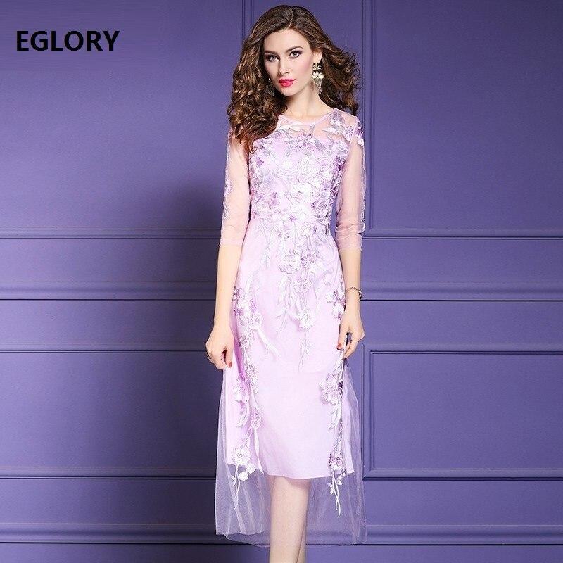 2019 été mode pourpre robe de haute qualité femmes Allover Tulle maille broderie 3/4 manches mi-mollet partie Sexy robe Festival