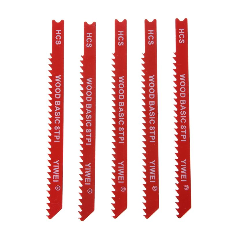 5pcs Durable U-shank High Carbon Steel 8 TPI Reciprocating Saw Blade Cutter For Wood Jig Cutting