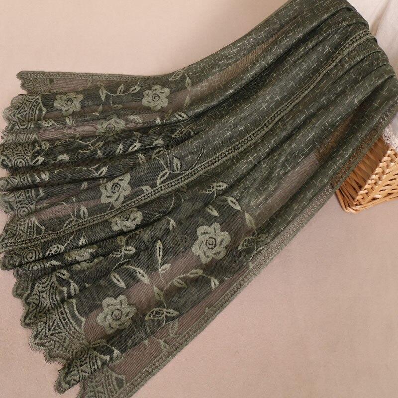 2019 Plain Stitch Lace Floral Chain Viscose Shawl Scarf Women Autumn Winter Wraps And Shawls Pashmina Stole Muslim Hijab Echarpe