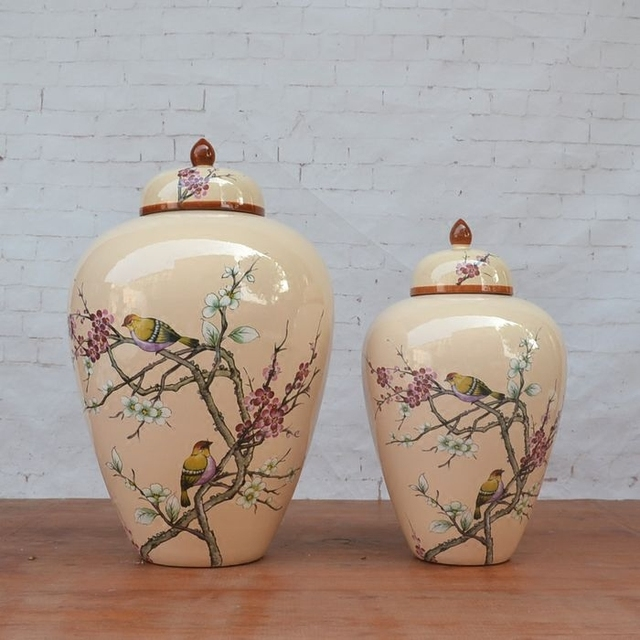 Chinese Ceramic Jar High Temperature Temple Vase Restaurant Decoration Ginger Flower And Bird