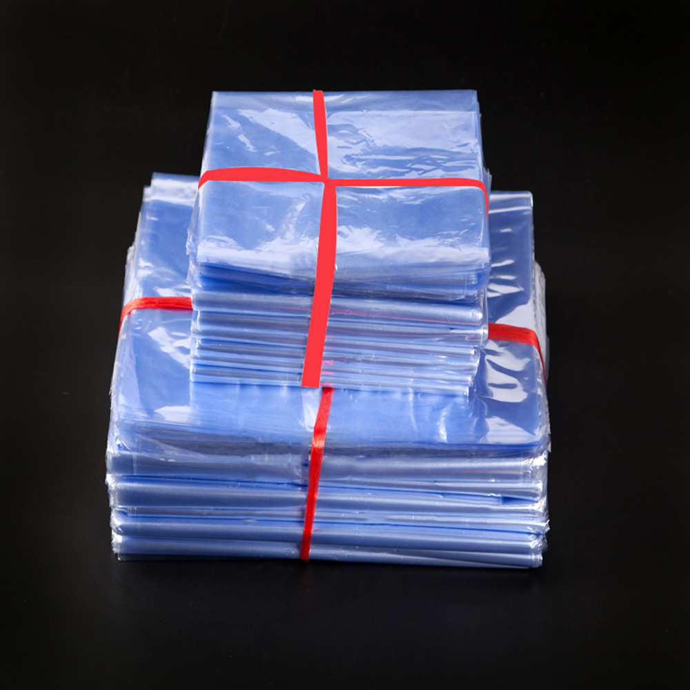 100pcs PVC Clear Gift Wrapper Film Household Plastic Pack Bags for Shoes Grocery Storage Heat Shrinkable Pouches Travel Supplies