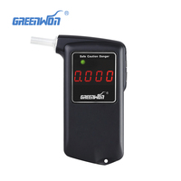High Precision And Portable Black Digital Professional Police Breath Alcohol Tester With 3 Color LED Light