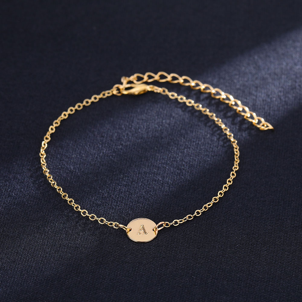Fashion Gold Color Letter Bracelet Bangle Simple Adjustable Name Chain Charm Bracelets for Women Pulseras Mujer Jewelry Gifts in Charm Bracelets from Jewelry Accessories