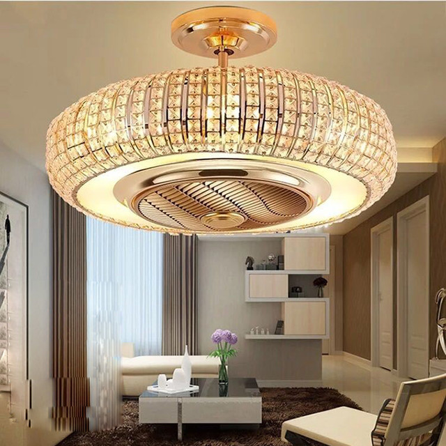 Luxury atmosphere Ceiling Fans lamp crystal pendant alloy fan  negative ions  Remote Control round golden ceiling fan light