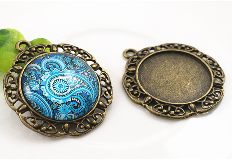 New Fashion  3pcs 25mm Inner Size Antique Bronze Baroque Style Cabochon Base Setting Charms Pendant (A3-59)