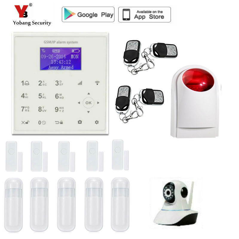 Yobang Security WIFI gsm alarm system Touch Keyboard IOS Android APP 433MHz Home Burglar Wifi/GSM/GPRS/SMS Alarm System 2 4g wifi gsm alarm system compatible gprs ios android app control touch keyboard support 5 language switch camera alarm