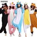 Oso Polar fleece Onesie Unicornio canguro Animal Adulto mujeres de Los Pijamas Animal pijama de una pieza de ropa de Dormir de mujer