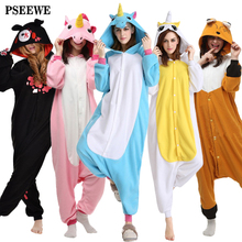 Polar fleece Onesie Unicorn Bear kangaroo Adult Animal Pyjamas women Animal pajamas one piece Sleepwear female