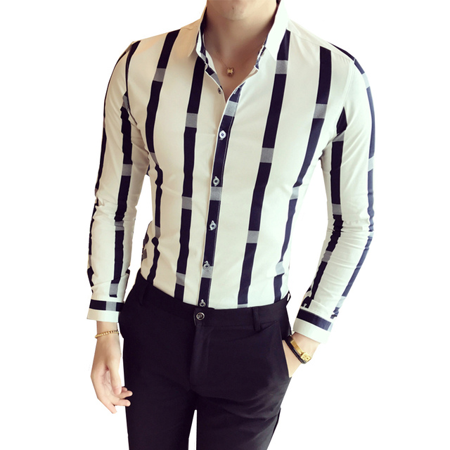 Spring Autumn Wide Stripe Shirt Men Fashion Long Sleeve British style Slim Fit Male Casual Social Hot Sale Night Club Work Shirt
