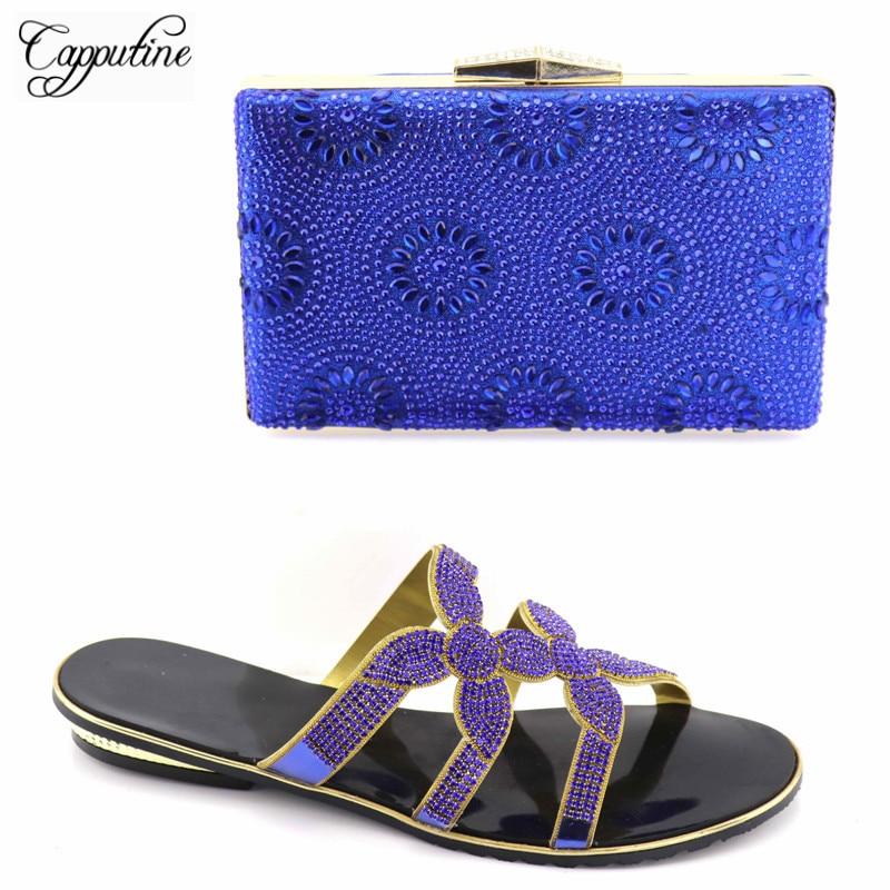 Tx Y Bolso Bajos 2018 Stylr Verano Africano Capputine Rhinestone Bolsa Zapatilla Tacones rojo 02 Fot oro Partido Nigerianos Zapatos Azul Z8qXz