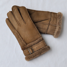 Free shipping 2pairs fashion male wool genuine leather sheep skin gloves warm protecting winter four colors for selecting