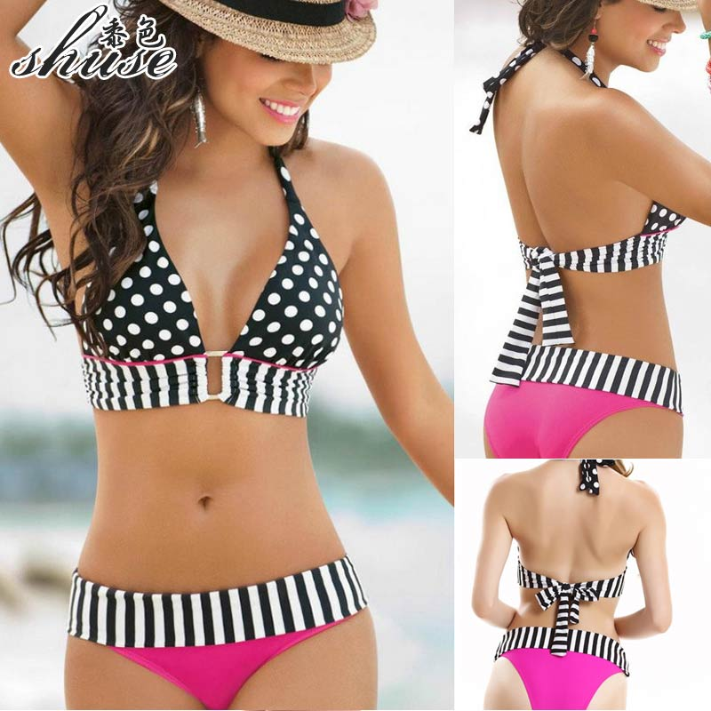 Polka Dot Bikini Swimwear Female Vintage High Waist Dot Bikinis Set Sexy Halter Bathing Suit Women Push Up Swimsuits Striped