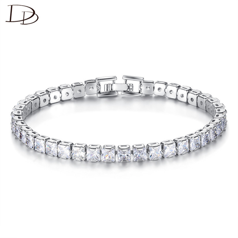 fecd6bc59cf10 US $7.93 42% OFF|DODO Charm Bracelet For Women Luxurious 6mm Square AAA  Zircon Chain Wedding Banquet Ladies Jewelry Pulseira Feminina Gifts B211-in  ...