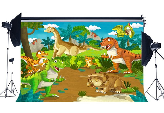 Dinosaur Backdrop for Photography Zoo Trees Green Grass Meadow Blue Sky White Cloud Cartoon Background