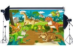 Image 1 - Dinosaurier Hintergrund für Fotografie Zoo Bäume Grüne Gras Wiese Blauen Himmel Weißen Wolke Cartoon Hintergrund