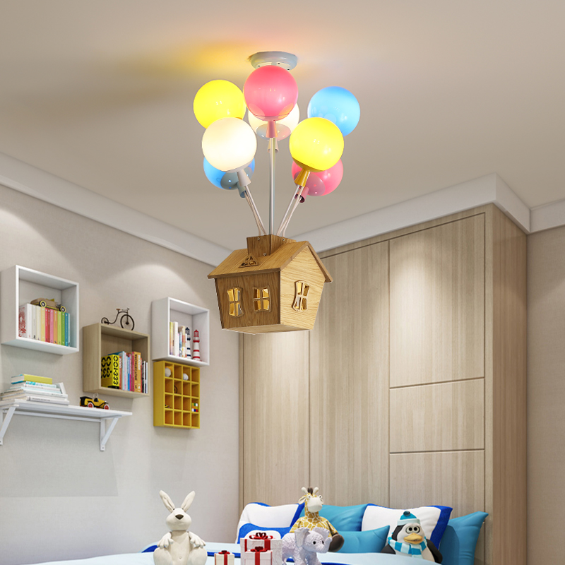 Modern Pendent Hanging Lamp Lights LED Bulbs Colorful Balloons Kids Individuality Children s Room Decoration Light