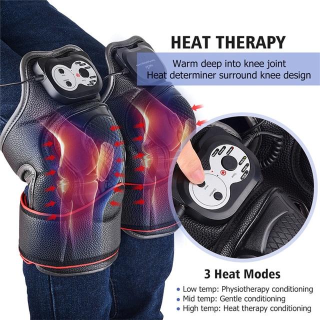 Vibração aquecimento do joelho massageador terapia magnética joint fisioterapia joelho cuidados com os ossos alívio da dor joelho protetor de massagem apoio 3