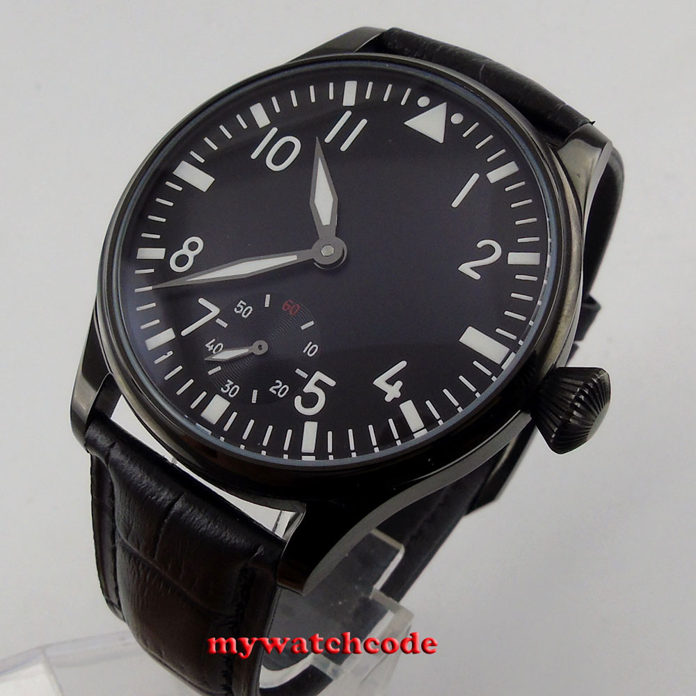 купить 44mm parnis black dial PVD case 6498 movement hand winding mens watch P147 по цене 6282.97 рублей