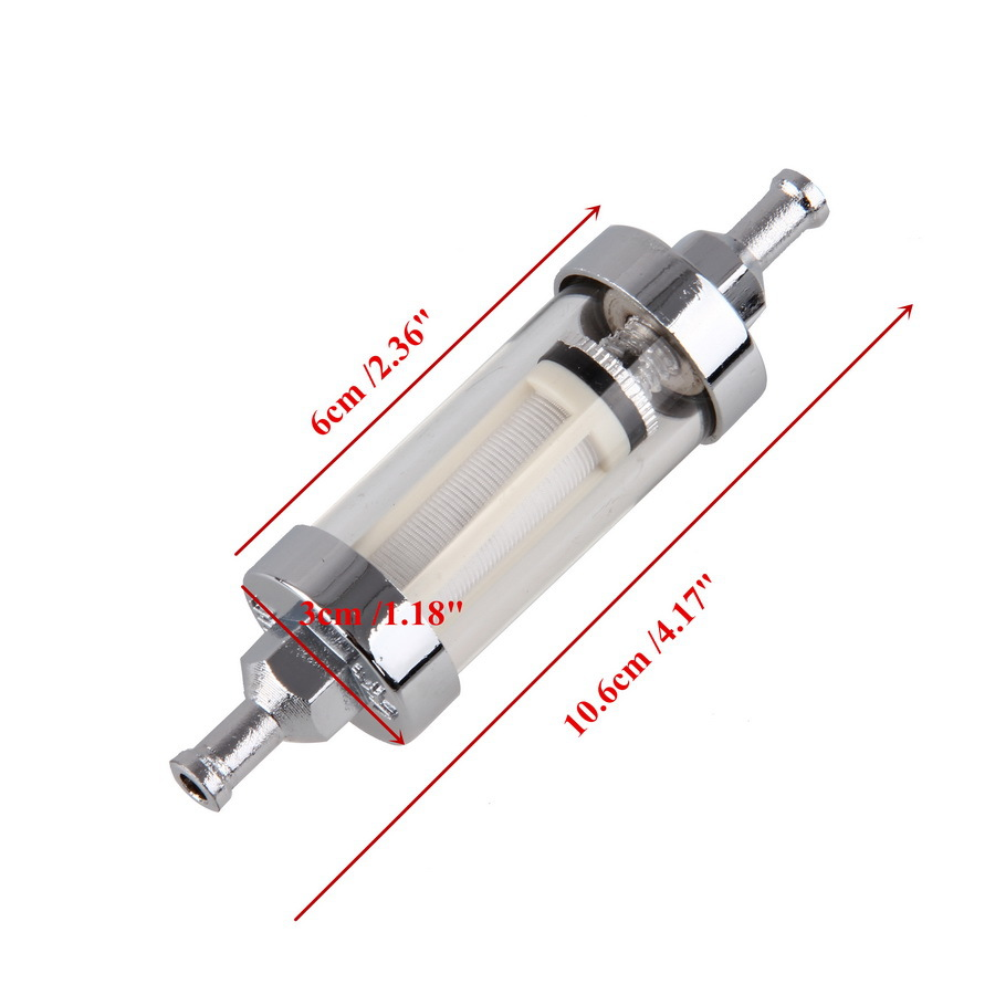 medium resolution of motorcycle fuel filter pit dirt bike scooter filtro chrome inline fuel gas filter 1 4 6mm in out easy to clean 105mm filter in oil filters from
