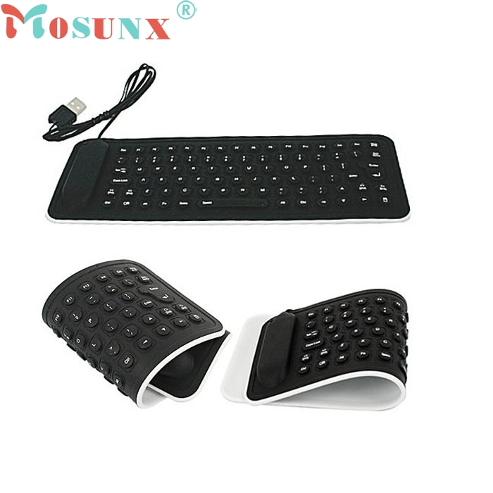 Ecosin 2 Portable USB Mini Flexible Silicone PC Keyboard Foldable for Laptop Notebook Bl ...