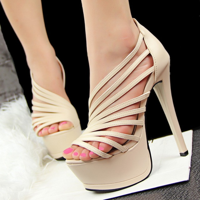 2015 Summer European style Roman shoes women high with waterproof sandals  sexy high heels nightclub hollow